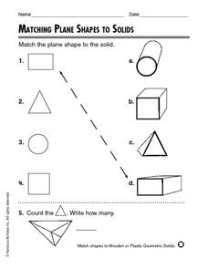 Matching Plane Shapes to Solids Worksheet