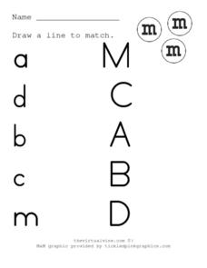 Matching Uppercase and Lowercase Letters 3 Worksheet