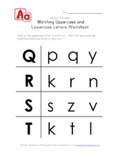 Matching Uppercase and Lowercase Letters Worksheet Worksheet