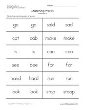 Matching Words (Worksheet A) Worksheet