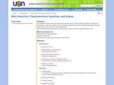 Mate Selection: Characteristics, Qualities, and Values Lesson Plan