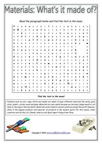 Materials: What's It Made of? Word Maze Worksheet