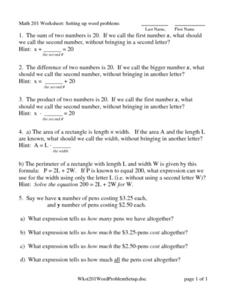 Math 201 Worksheet: Setting Up Word Problems Worksheet