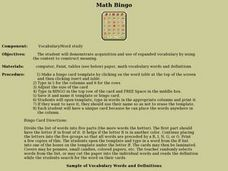 Math Bingo! Lesson Plan