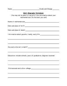 Biography Questions Worksheet - Synhoff