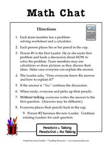 Math Chat Lesson Plan