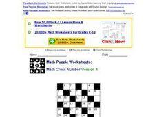 Math Cross Number Version 4 Lesson Plan