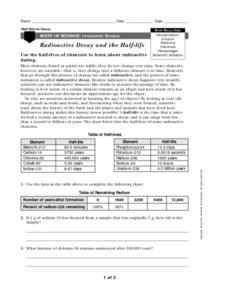 Math in Science-Radioactive Decay and Half-Life Worksheet