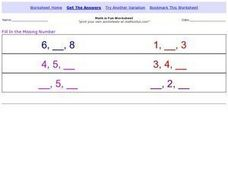 Math is Fun: Missing Number Sequences 1-9 Worksheet