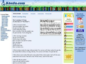 Math Learning Song The Learning 1-5 Song Lesson Plan