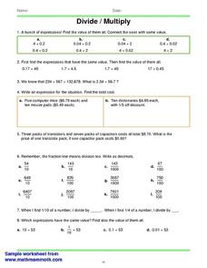 Math Mammoth Worksheets; Divide/Multiply Worksheet