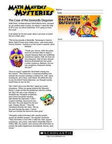 Math Maven's Mysteries: The Case of the Dastardly Disguiser Worksheet