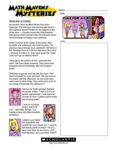Math Maven's Mysteries: Time for a Crime Worksheet