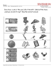 Math - money: finding appropriate bill or coin to buy Worksheet