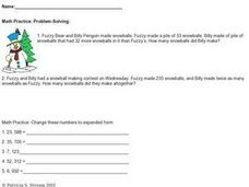 Math Practice: Snowball Math - Subtraction and Addition, Expanded Form Worksheet