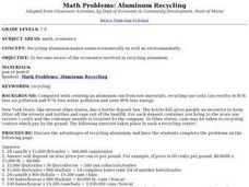 Math Problems: Aluminum Recycling Lesson Plan