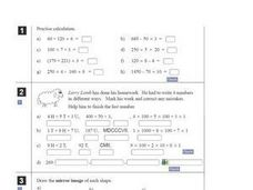 Math Problems, Calculations and Mirror Images Worksheet
