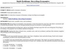 Math Problems: Recycling Economics Lesson Plan