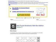 Math Puzzle Worksheets: Math Box Addition Lesson Plan