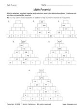 math worksheet : math pyramid worksheets multiplication  educational math activities : Addition Pyramid Worksheet
