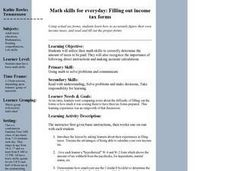 Math Skills for Everyday:  Filling Out Income Tax Forms Lesson Plan