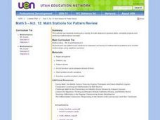 Math Stations for Pattern Review Lesson Plan