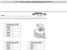 Math Tables: Subtracting 3 Digit Numbers Worksheet