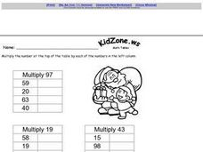 Math Tables Worksheet