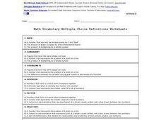 math worksheet : math vocabulary definitions multiple choice 4th  6th grade  : Math Vocabulary Worksheet