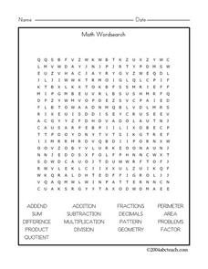 Math Wordsearch Worksheet