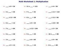 Math Worksheet 1: Multiplication, #4 Worksheet