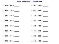 Math Worksheet 1: Subtraction, #2 Worksheet