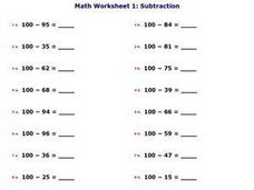 Math Worksheet 1: Subtraction, #3 Worksheet