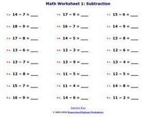 Math Worksheet 1: Subtraction A Worksheet