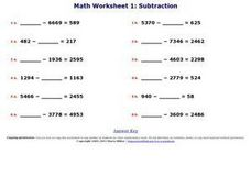 Math Worksheet 1: Subtraction Worksheet