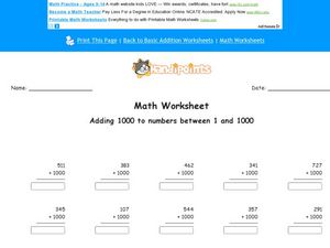 Math Worksheet: Adding 1000 Worksheet