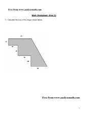 Math Worksheet: Area (3) Worksheet