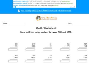 Math Worksheet: Basic Addition Using Numbers Between 500 and 1000 Worksheet