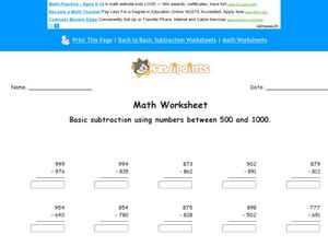 Math Worksheet: Basic Subtraction #2 Worksheet