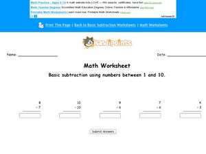Math Worksheet:  Basic Subtraction, #5 Worksheet