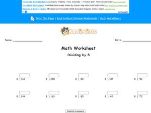 Math Worksheet: Dividing by 8 Worksheet