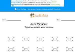 Math Worksheet: Equalities Problems Worksheet