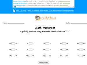 Math Worksheet: Equality Problems Worksheet