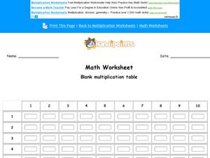 Math Worksheet: Fill in the Multiplication Table Worksheet