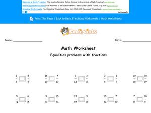 Math Worksheet: Fraction Equality Problems Worksheet