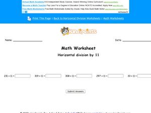 Math Worksheet: Horizontal Division By 11, #3 Worksheet