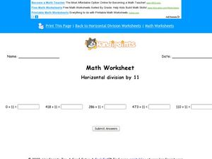 Math Worksheet: Horizontal Division By 11 Worksheet