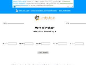 Math Worksheet: Horizontal Division by 8 Worksheet