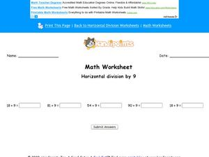 Math Worksheet:  Horizontal Division by 9, #2 Worksheet