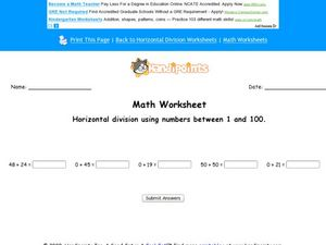 Math Worksheet:  Horizontal Division of Numbers Between 1 and 100, #3 Worksheet